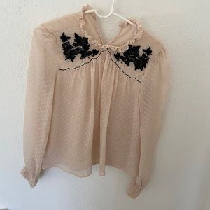 Blush beaded top Zara